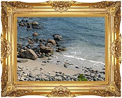 Brandie Newmon Coastline In Ogunquit Maine canvas with Majestic Gold frame