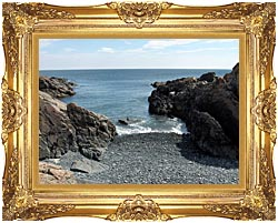 Brandie Newmon Rocks Along The Maine Coastline canvas with Majestic Gold frame