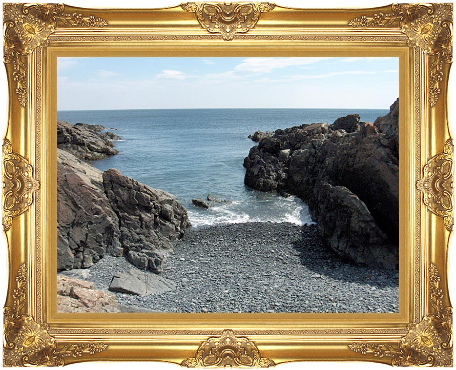 Brandie Newmon Rocks Along the Maine Coastline with Majestic Gold Frame