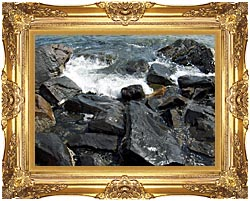 Brandie Newmon Ocean Waves Crashing Into The Rocky Maine Coast canvas with Majestic Gold frame