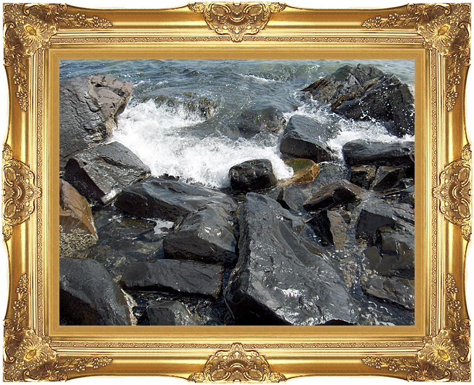Brandie Newmon Ocean Waves Crashing into the Rocky Maine Coast with Majestic Gold Frame