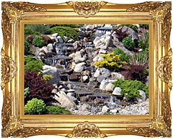 Brandie Newmon Waterfall In Ogunquit Maine canvas with Majestic Gold frame