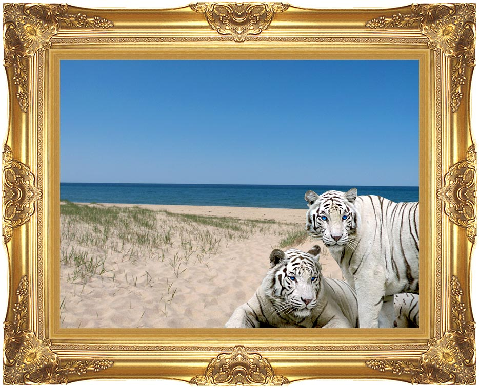 Brandie Newmon White Tigers at the Beach with Majestic Gold Frame