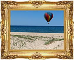 Brandie Newmon Hot Air Balloon At The Beach canvas with Majestic Gold frame