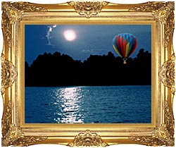 Brandie Newmon Hot Air Balloon At Night canvas with Majestic Gold frame