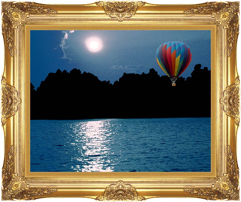 Brandie Newmon Hot Air Balloon at Night with Majestic Gold Frame