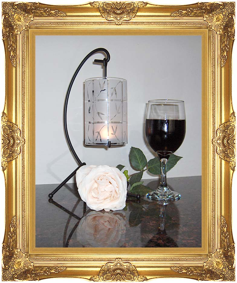 Brandie Newmon Wine, Rose, and Candlelight with Majestic Gold Frame
