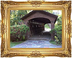 Brandie Newmon Covered Wooden Bridge canvas with Majestic Gold frame