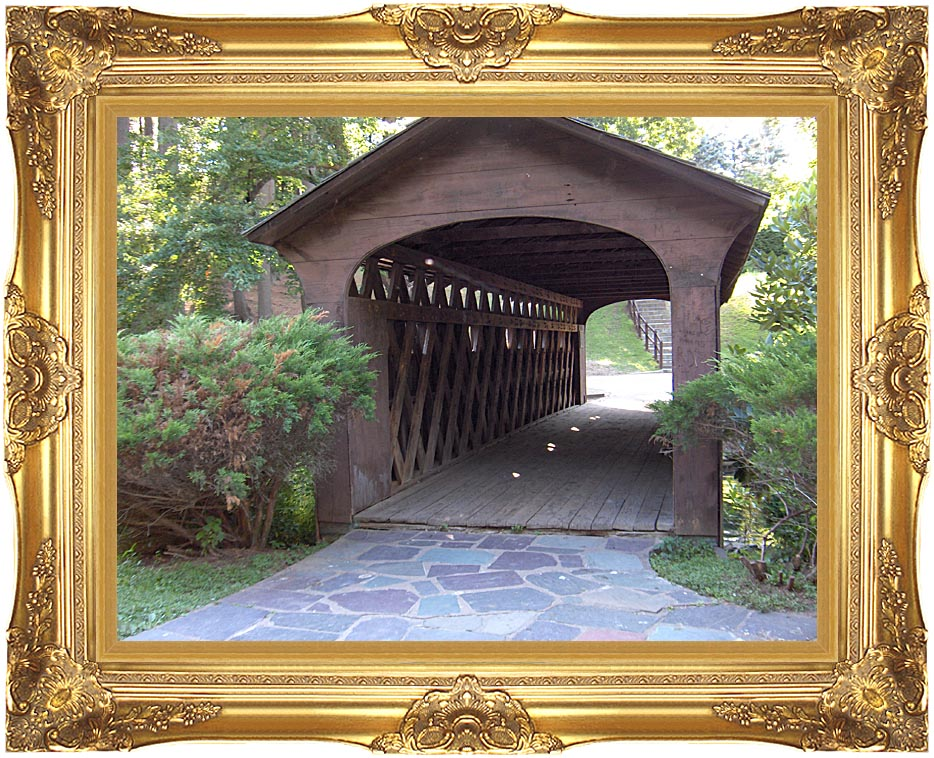 Brandie Newmon Covered Wooden Bridge with Majestic Gold Frame