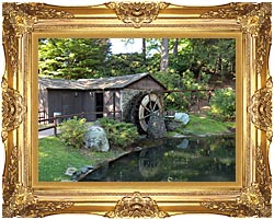 Brandie Newmon Rustic Water Mill Wheel canvas with Majestic Gold frame