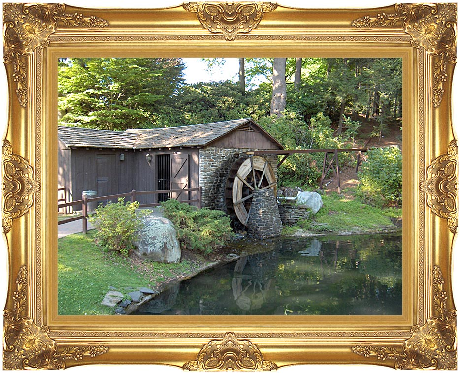 Brandie Newmon Rustic Water Mill Wheel with Majestic Gold Frame
