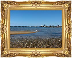 Brandie Newmon Provincetown Harbor canvas with Majestic Gold frame