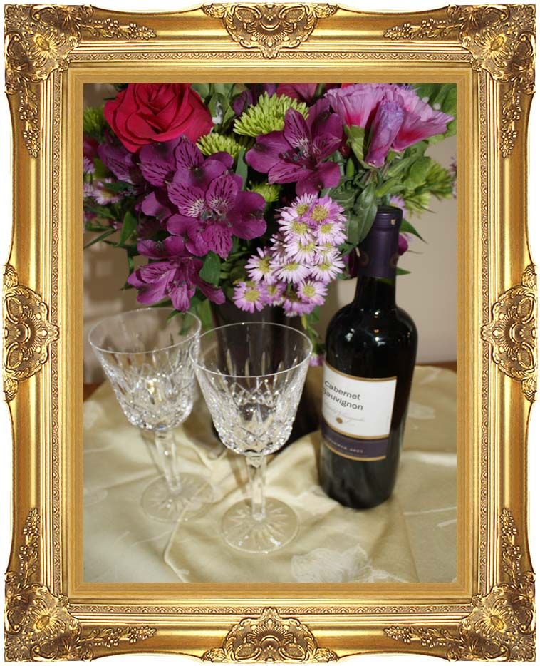 Kim O'Leary Photography Flowers and Wine with Majestic Gold Frame