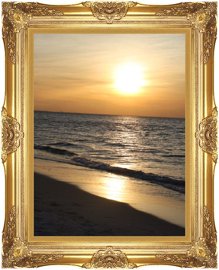 Kim O'Leary Photography Sunset at Mayflower Beach, Cape Cod with Majestic Gold Frame