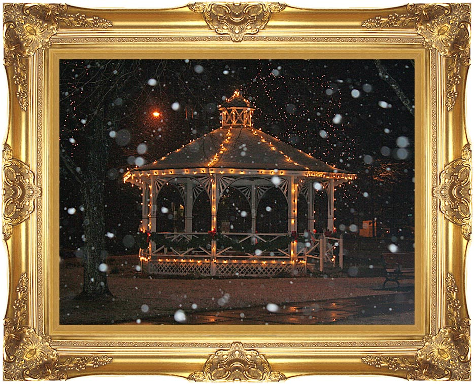Kim O'Leary Photography Snowy Gazebo, Easthampton Massachusetts with Majestic Gold Frame