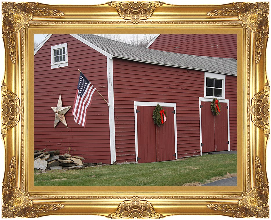 Kim O'Leary Photography Winter Red Barn with Majestic Gold Frame