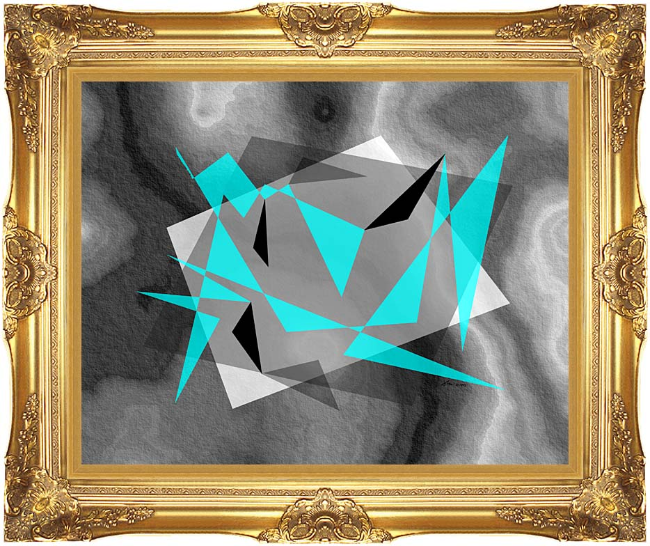 Lora Ashley Fragments Unite (Cyan and Black) with Majestic Gold Frame