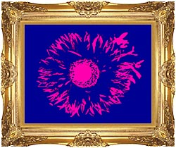 Lora Ashley Blue And Pink Flower Abstract canvas with Majestic Gold frame