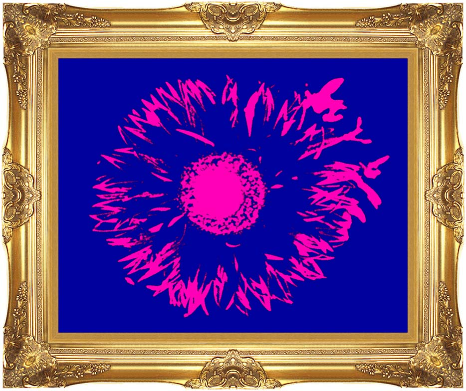 Lora Ashley Blue and Pink Flower Abstract with Majestic Gold Frame