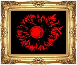 Lora Ashley Black And Red Flower Abstract canvas with Majestic Gold frame