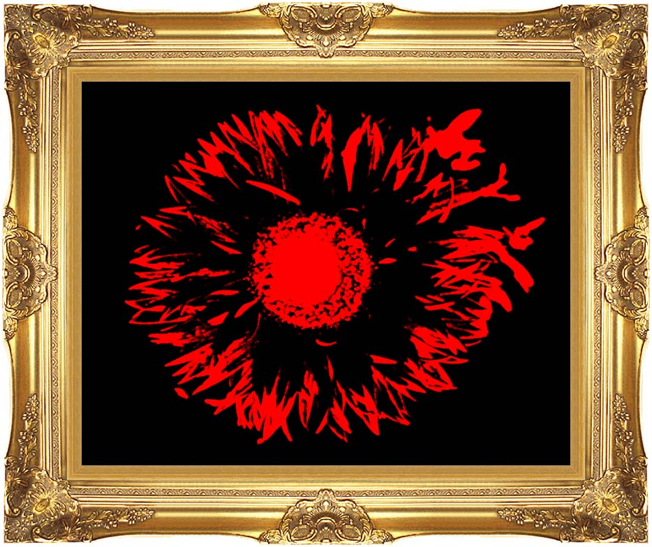 Lora Ashley Black and Red Flower Abstract with Majestic Gold Frame