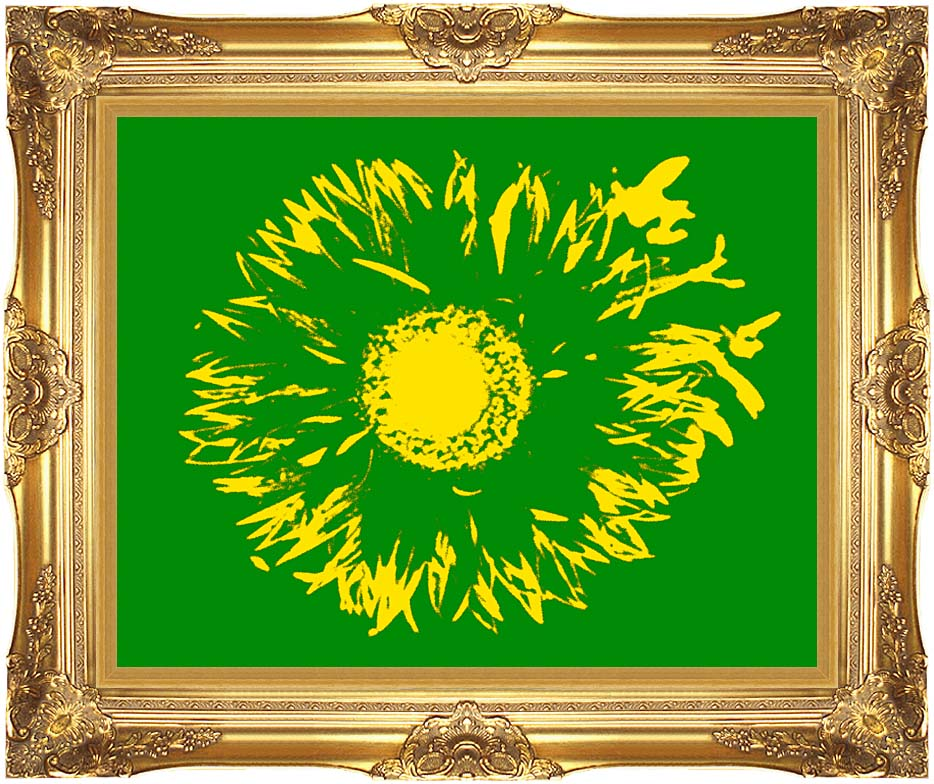 Lora Ashley Green and Yellow Flower Abstract with Majestic Gold Frame