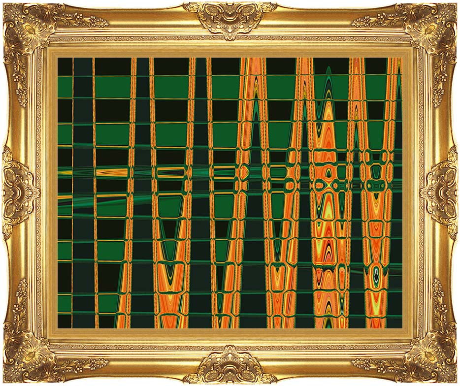 Lora Ashley Green and Orange Abstract with Majestic Gold Frame