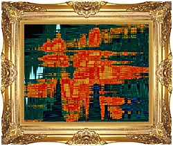 Lora Ashley Green And Orange Tapestry canvas with Majestic Gold frame