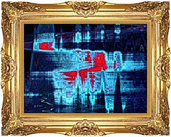 Lora Ashley Light In Blue And Red canvas with Majestic Gold frame