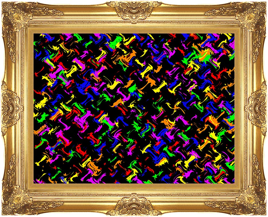 Lora Ashley Contemporary Rainbow Colors with Majestic Gold Frame