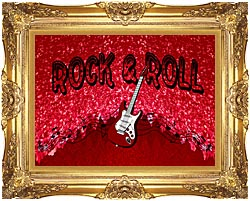Lora Ashley Rock And Roll Guitar canvas with Majestic Gold frame