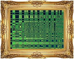 Lora Ashley Green And Blue Weave canvas with Majestic Gold frame