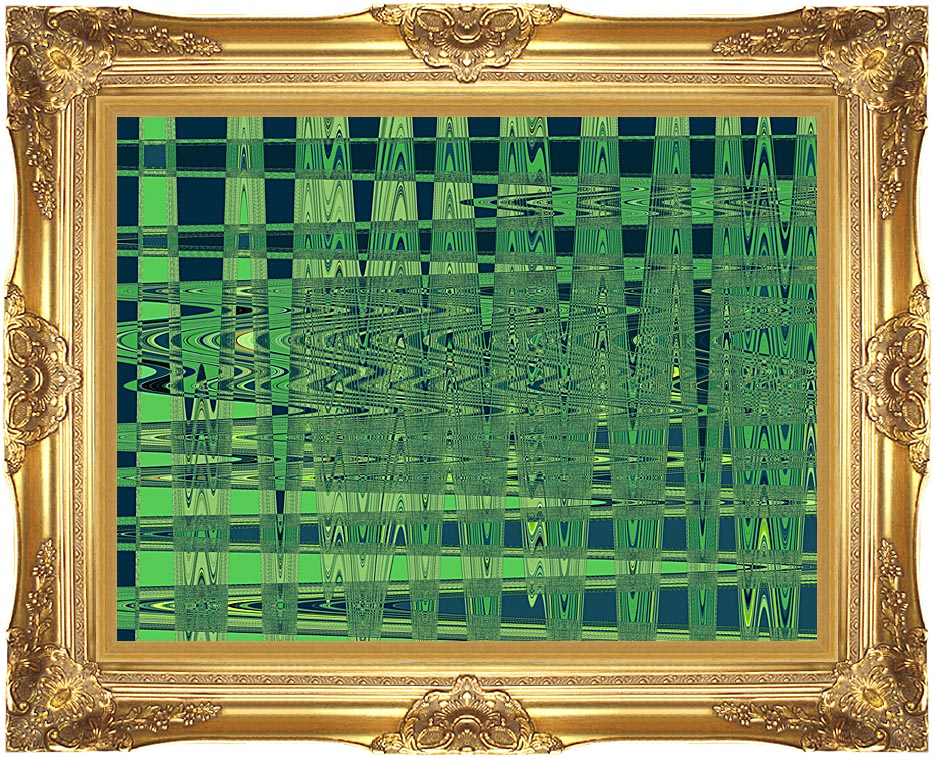 Lora Ashley Green and Blue Weave with Majestic Gold Frame