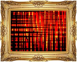 Lora Ashley Red Yellow And Black Abstract canvas with Majestic Gold frame