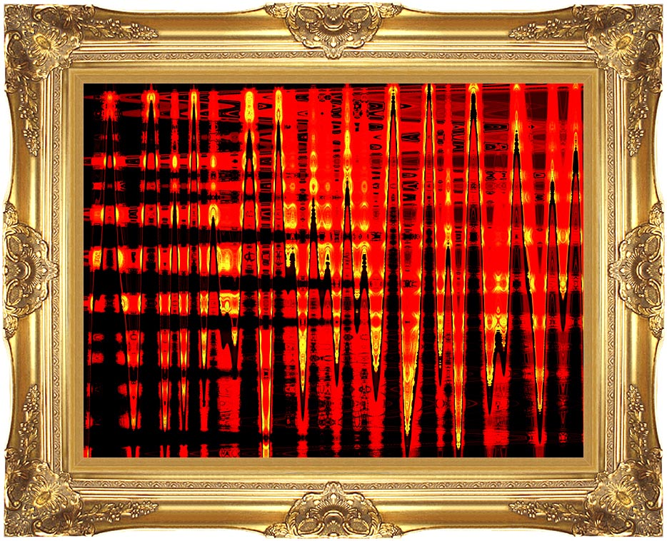 Lora Ashley Red, Yellow, and Black Abstract with Majestic Gold Frame