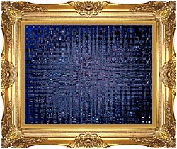 Lora Ashley Black And Blue Tapestry canvas with Majestic Gold frame