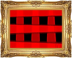 Lora Ashley Modern Black And Red Abstract canvas with Majestic Gold frame