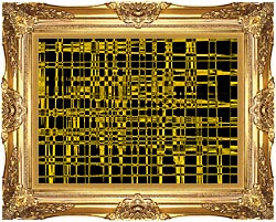 Lora Ashley Contemporary Yellow Abstract canvas with Majestic Gold frame