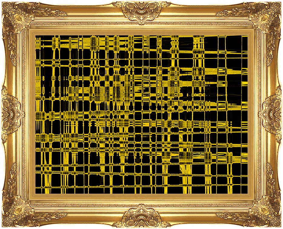 Lora Ashley Contemporary Yellow Abstract with Majestic Gold Frame
