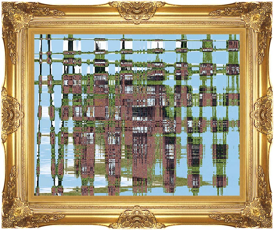 Lora Ashley Contemporary Earthtones Abstract with Majestic Gold Frame