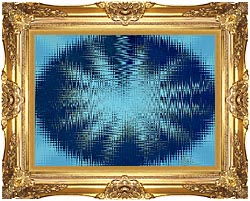 Lora Ashley Abstract Blue Flower canvas with Majestic Gold frame
