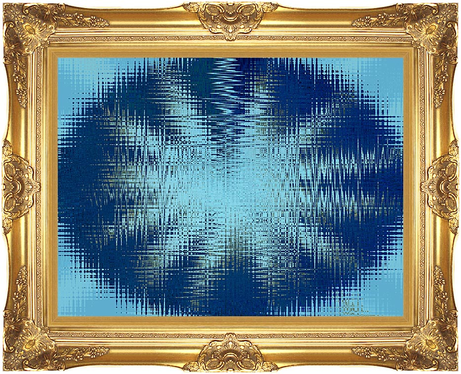 Lora Ashley Abstract Blue Flower with Majestic Gold Frame