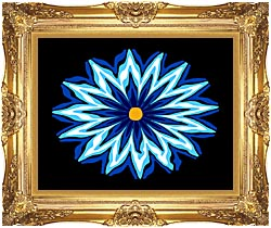 Lora Ashley Contemporary Blue Flower canvas with Majestic Gold frame
