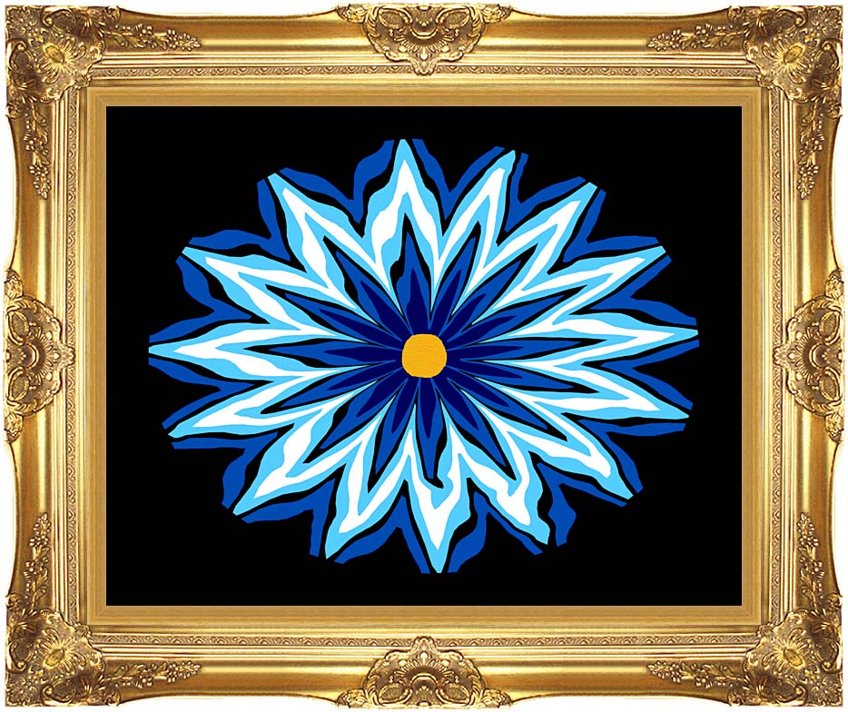 Lora Ashley Contemporary Blue Flower with Majestic Gold Frame