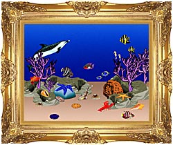 Lora Ashley Ocean Scene Underwater canvas with Majestic Gold frame