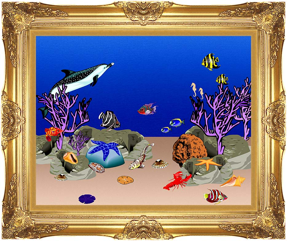 Lora Ashley Ocean Scene Underwater with Majestic Gold Frame