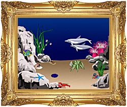 Lora Ashley Dolphins Swimming canvas with Majestic Gold frame
