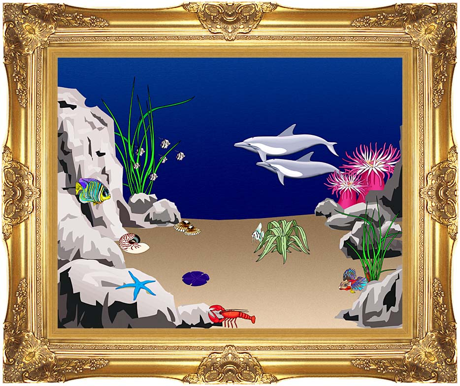 Lora Ashley Dolphins Swimming with Majestic Gold Frame