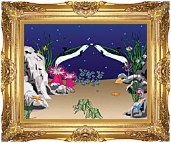 Lora Ashley Spotted Dolphins canvas with Majestic Gold frame