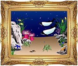 Lora Ashley Whales Swimming canvas with Majestic Gold frame